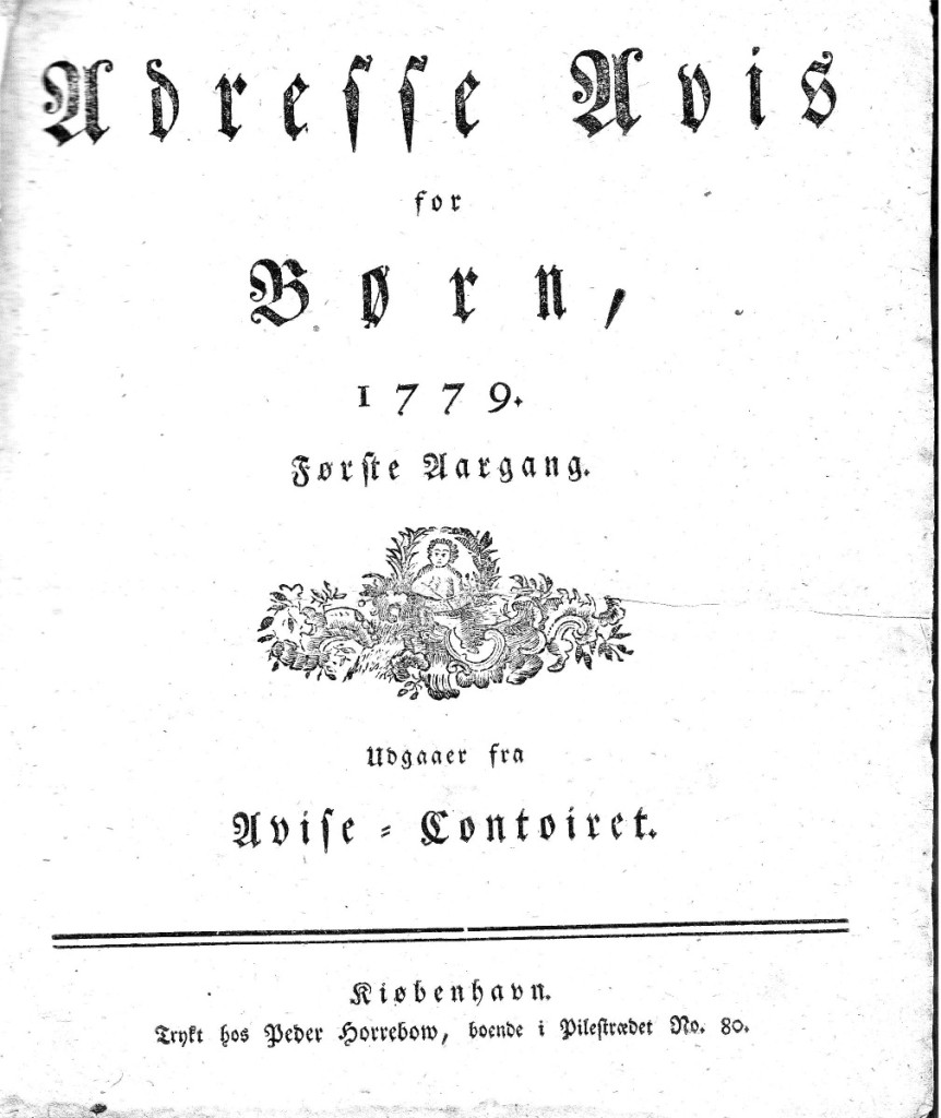Forsiden til Adresse Avis for Børn, første årgang 1779