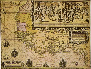 Kart over det mektige kongerike Guinea, spansk framstilling fra omkring 1650.