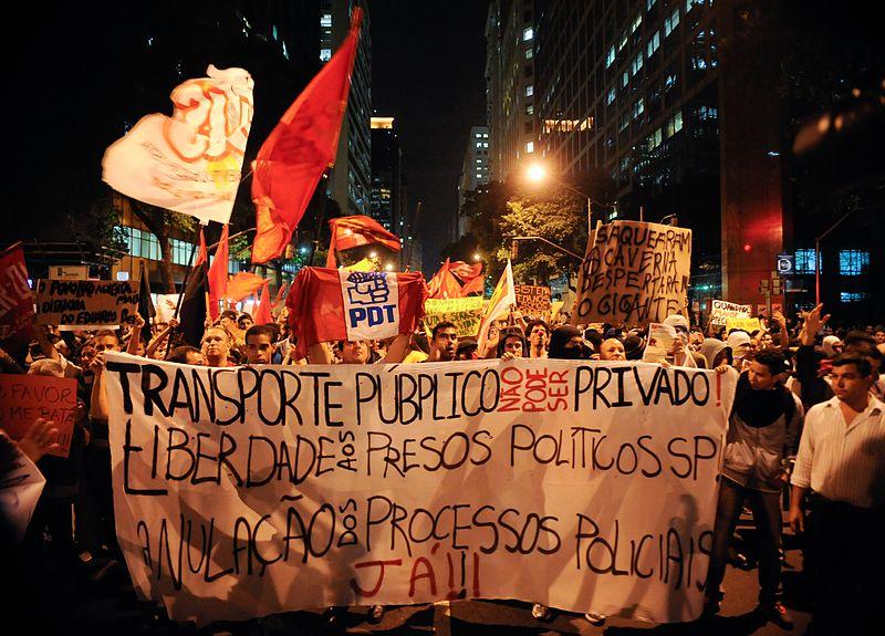 Protestene i Brasil, 16/6 2013. Foto: Agencia Brasil/Wikimedia Commons