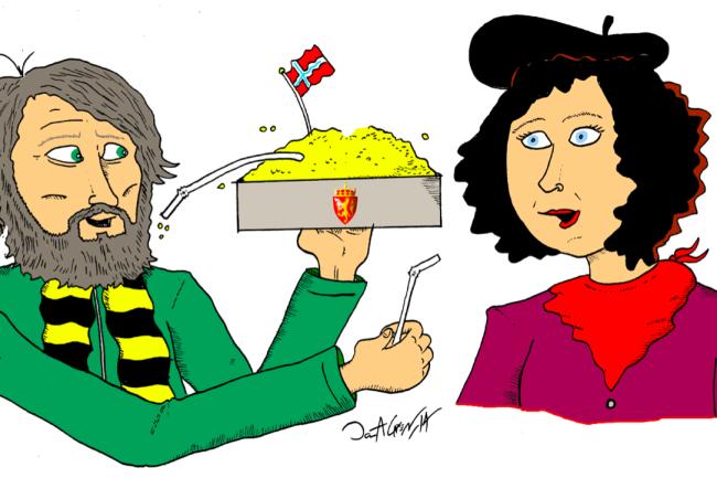 Har kunstnere sugerør ned i statskassa? Illustrasjon av Jonas A. Larsen.