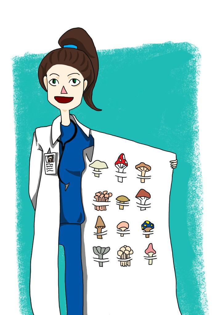 Tegning av medisiner med utvalg av sopp på innerlommen