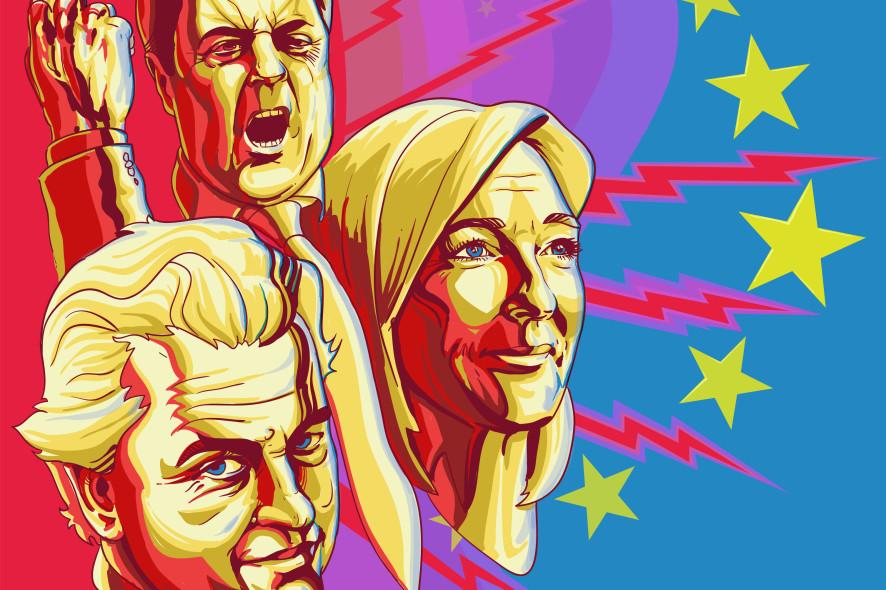 Tegning av de høyrepopulistiske politikerne Nick Griffin, Marine Le Pen og Geert Wilders, som alle kan gjøre gode valg når nytt EU-parlament skal velges denne måneden.
